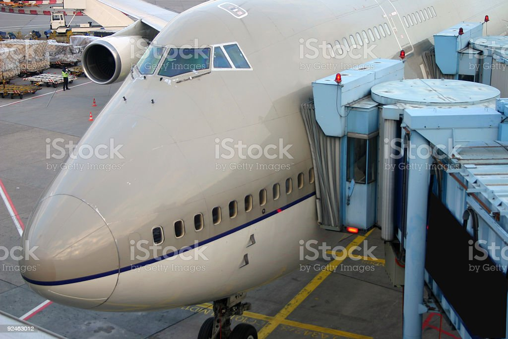 Airliner at the gate royalty-free stock photo