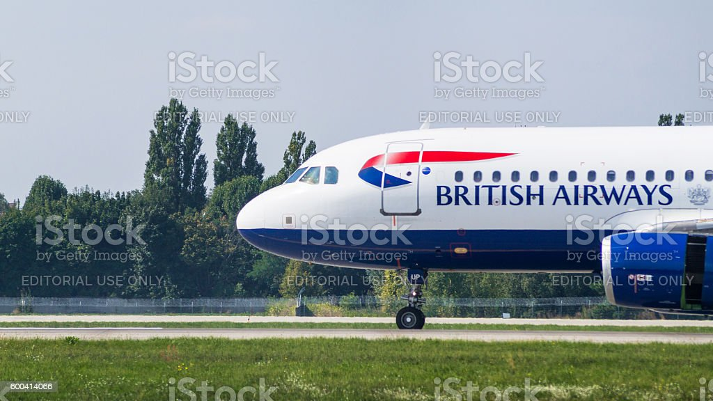 Airliner by British Airways close-up view stock photo