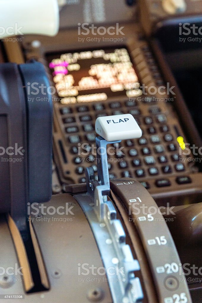 Airliner cockpit details stock photo