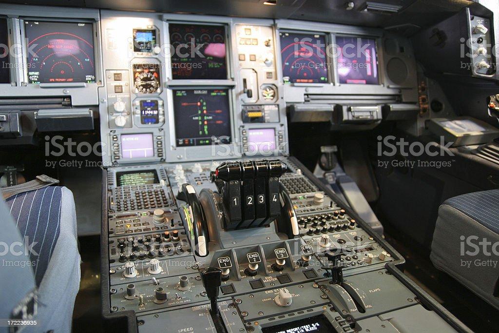 Airliner cockpit interior stock photo