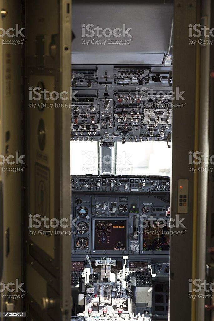 Airliner Cockpit through Security Door stock photo