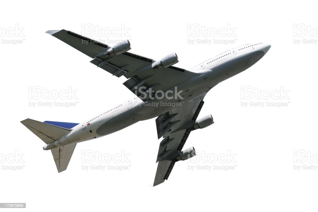 Airliner from below, isolated on white royalty-free stock photo