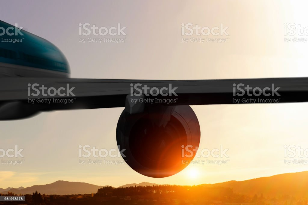 Airliner high in sky stock photo