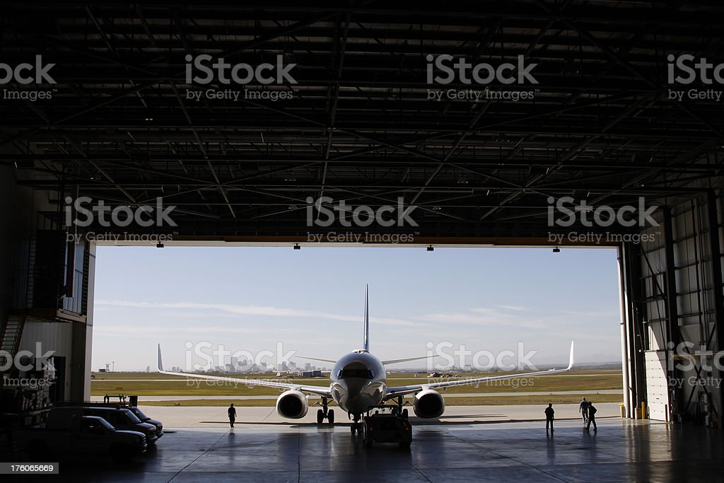 Airliner in Hangar stock photo