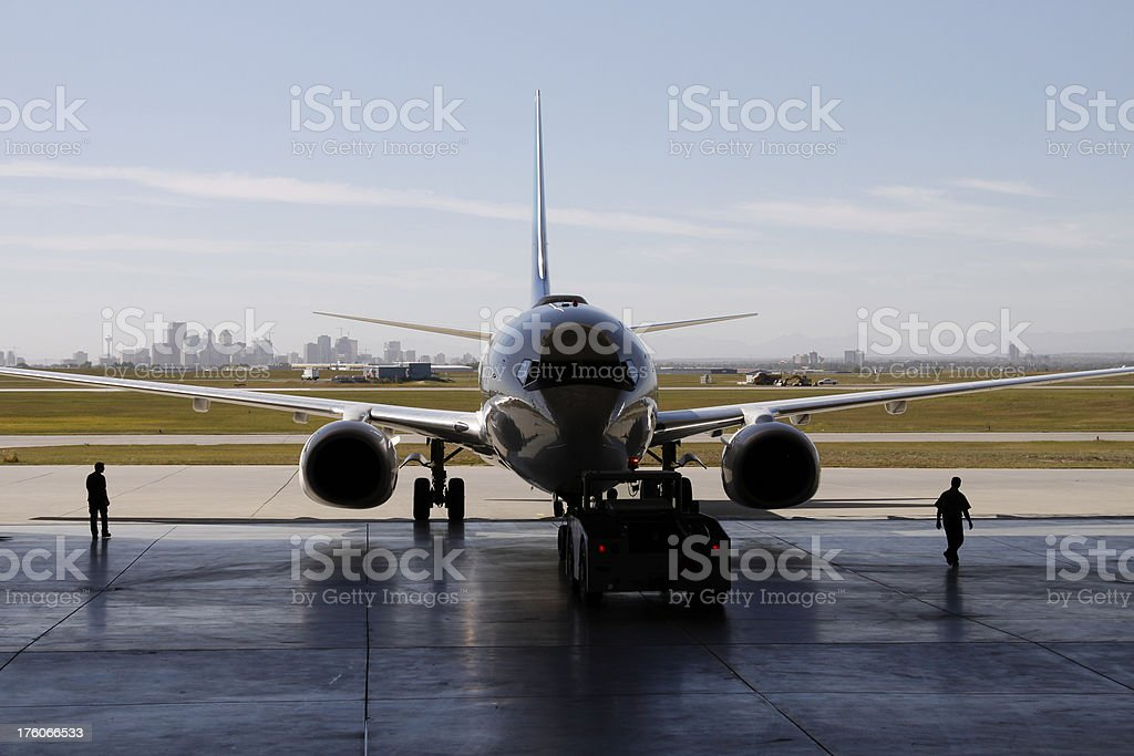 Airliner in Hangar royalty-free stock photo