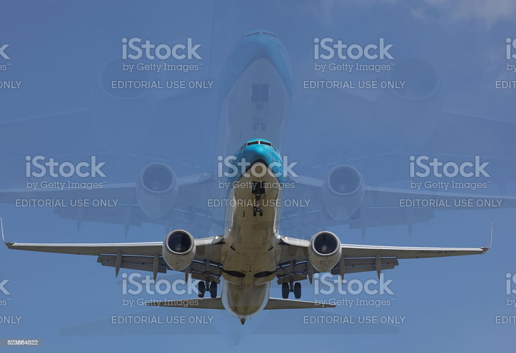 Airliner landing image compilation stock photo