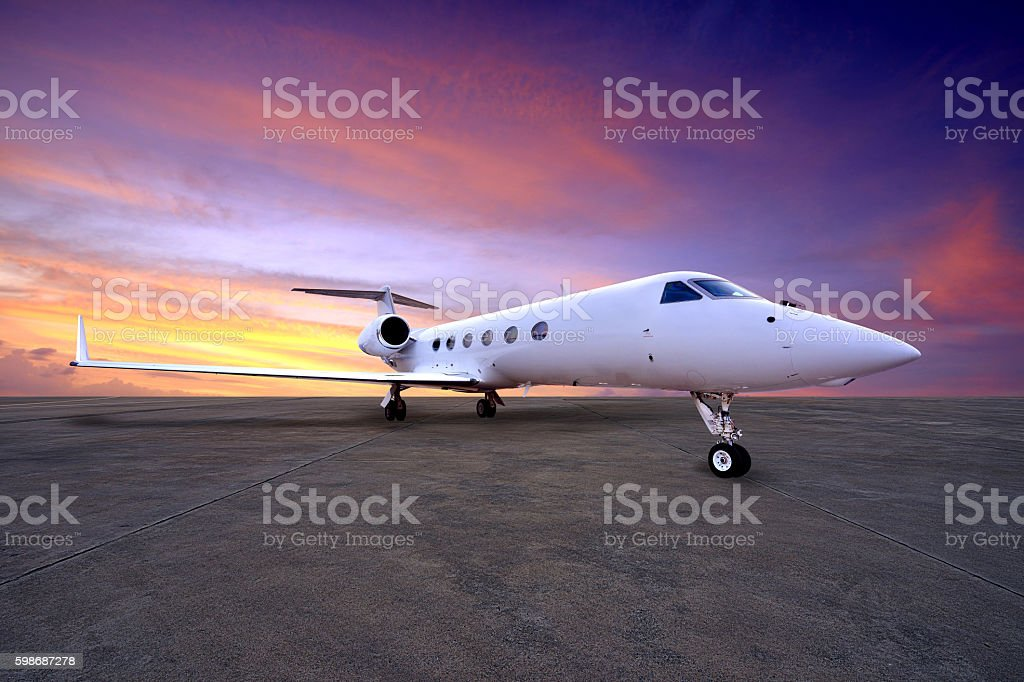 Airliner on Parking Apron stock photo