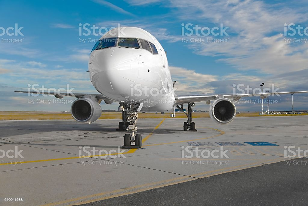 Airliner on the ground stock photo