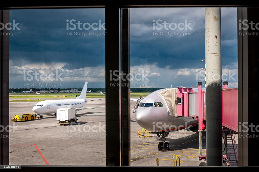 Airliner parked at the airport ,before the storm,Moscow,Russia stock photo