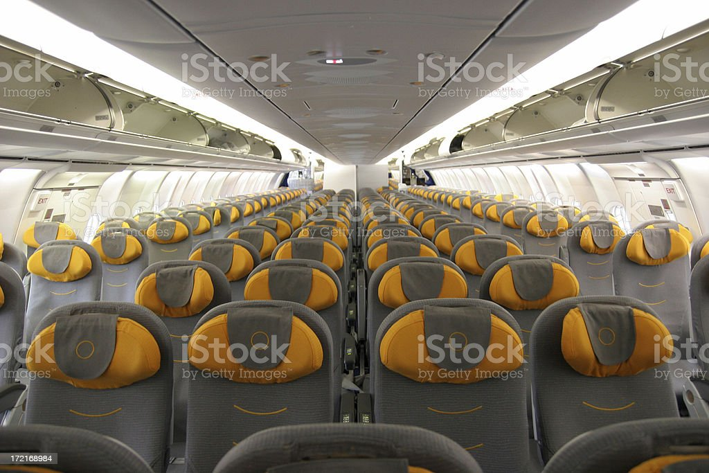 Airliner passenger cabin royalty-free stock photo