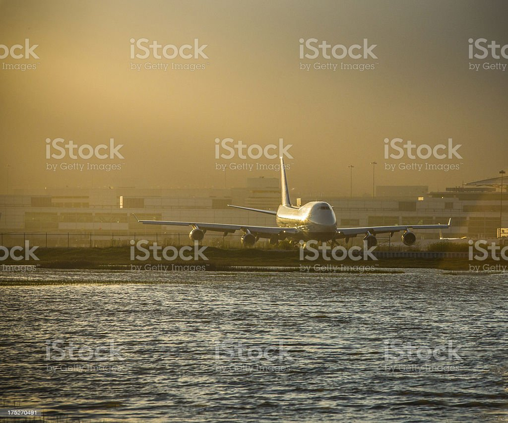 Airliner Silhouette at Dusk stock photo