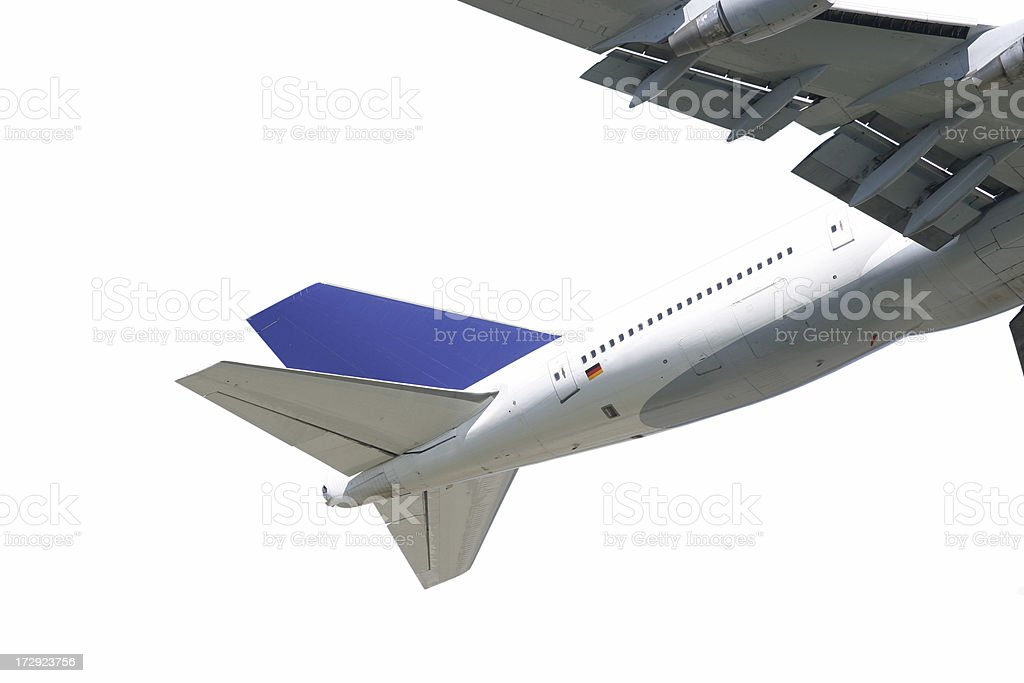 Airliner tail section royalty-free stock photo