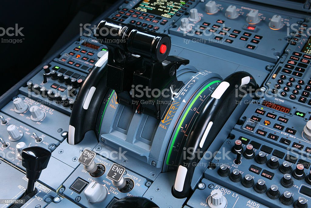 Airliner Throttles royalty-free stock photo