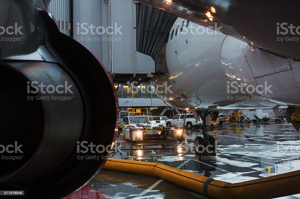 Airliner Waits at the Gait San Francisco International Airport stock photo