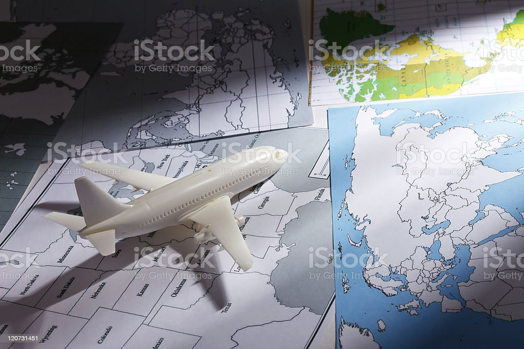 airliner with a maps royalty-free stock photo