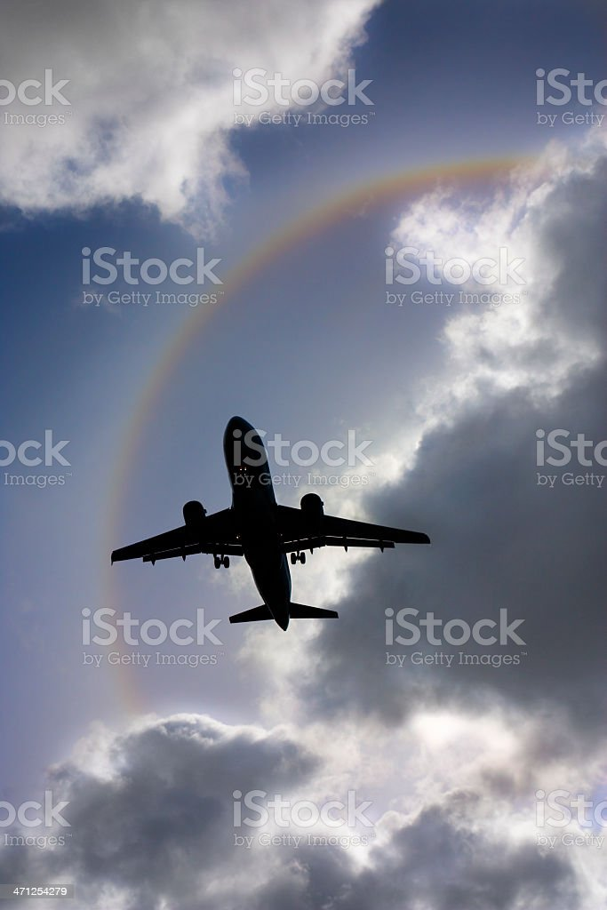 Airliner with Rainbow royalty-free stock photo
