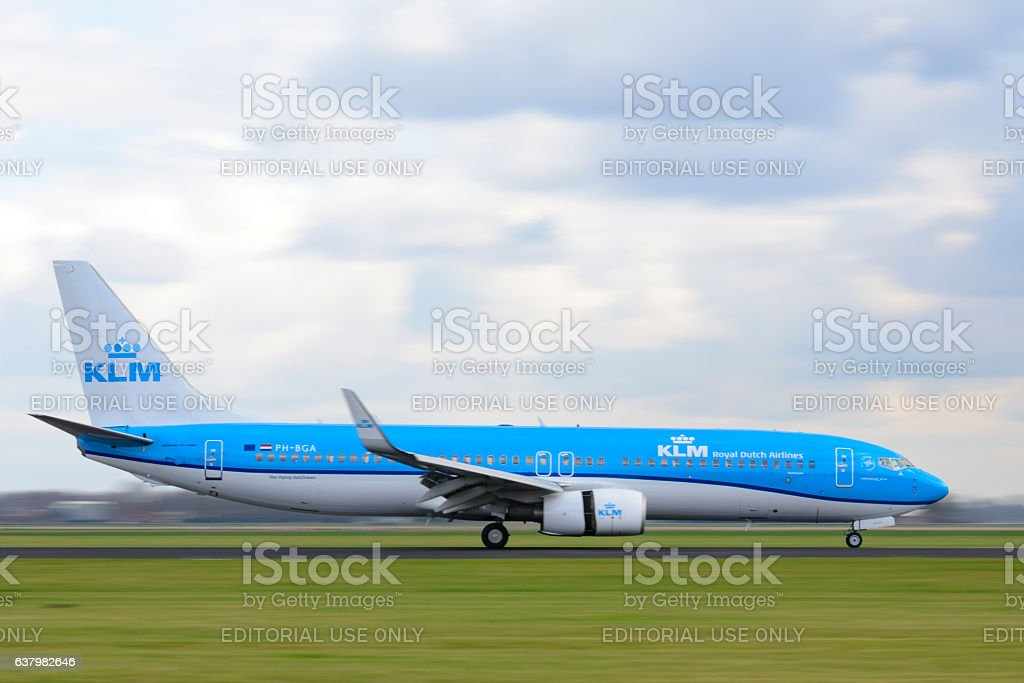 KLM Airlines Boeing 737 airplane stock photo