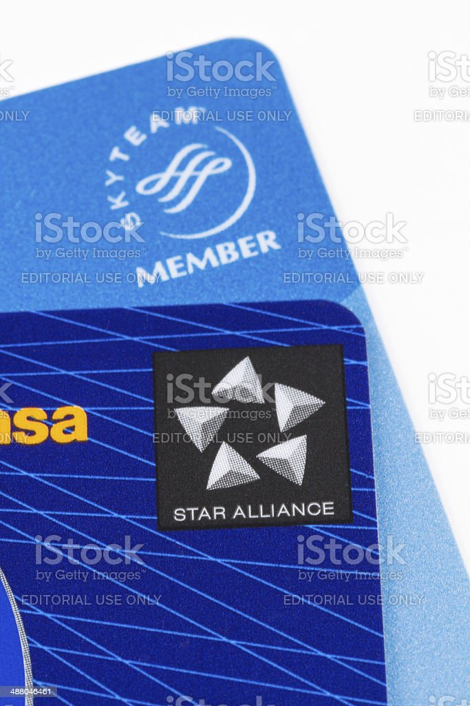 Airlines loyalty cards stock photo