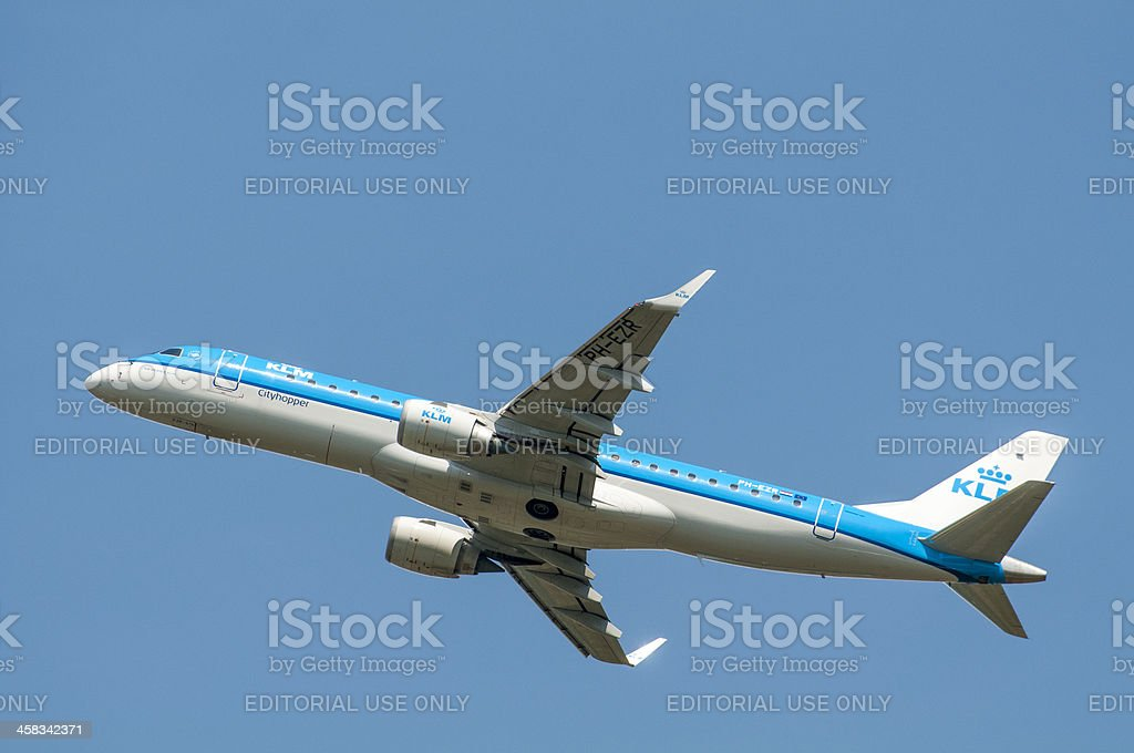 KLM airlines plane taking off stock photo