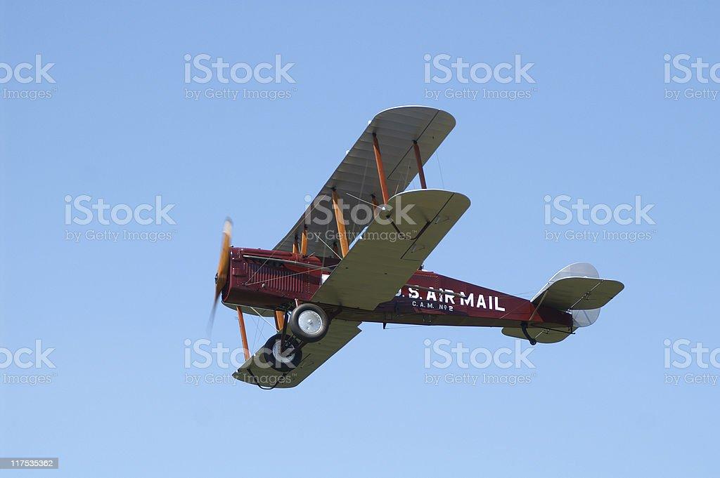 US airmail biplane De Havilland DH4 airplane flying stock photo