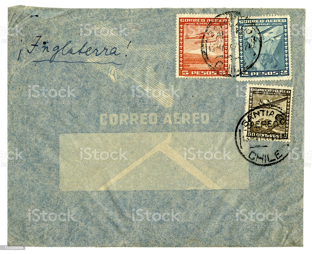 Airmail envelope from Chile to England royalty-free stock photo