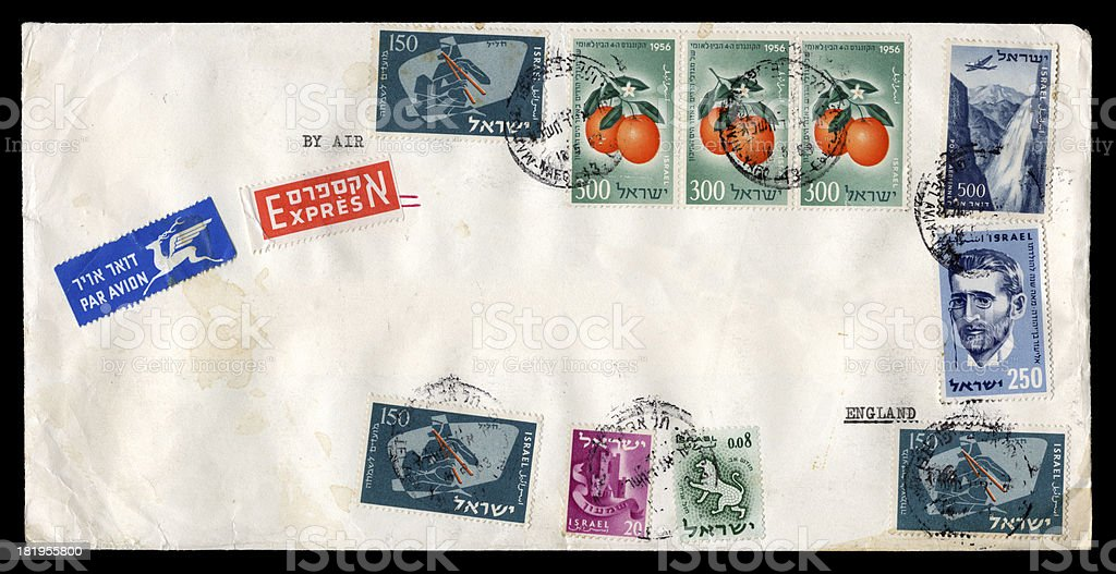 Airmail envelope from Israel to England, 1963 royalty-free stock photo