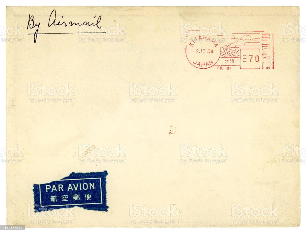 Airmail envelope from Kitahama, Japan, 1958 stock photo