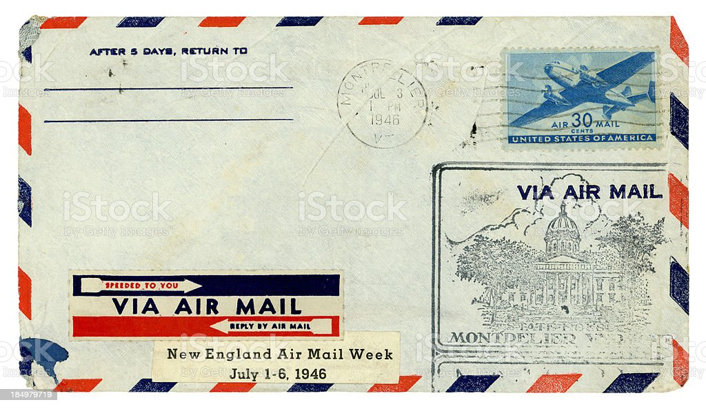 Airmail envelope from Montpelier, Vermont, 1946 royalty-free stock photo