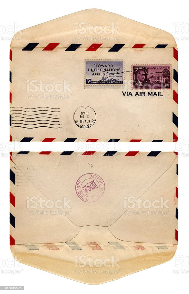 Airmail envelope from USA, 1945 royalty-free stock photo