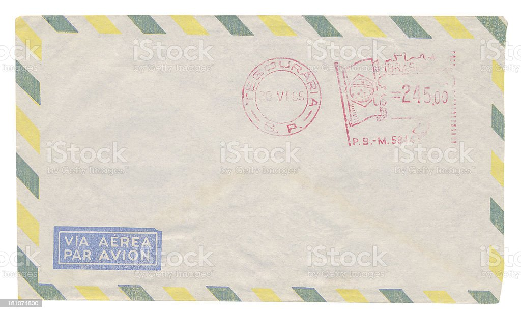Airmail envelope isolated (clipping path incluced) royalty-free stock photo