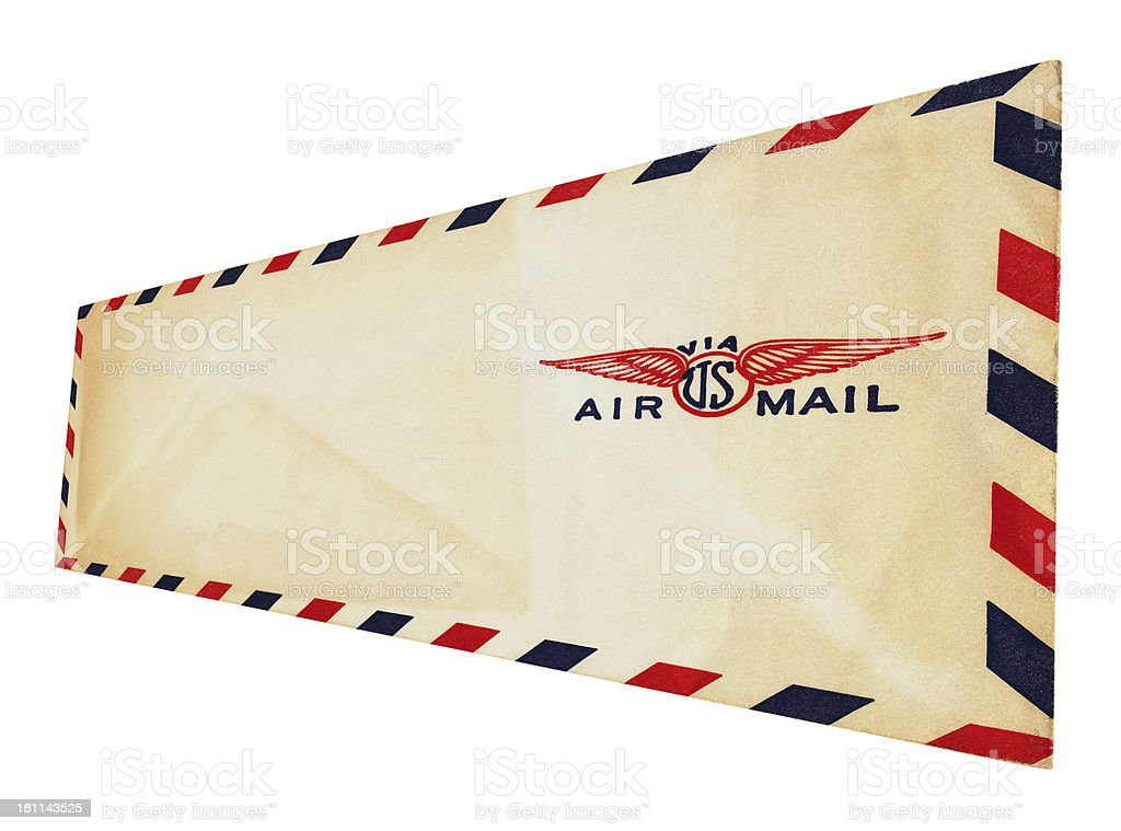 Airmail envelope (isolated on white) royalty-free stock photo