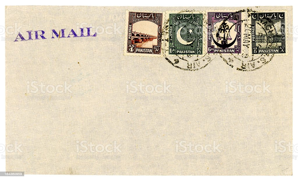 Airmail envelope posted in Pakistan royalty-free stock photo