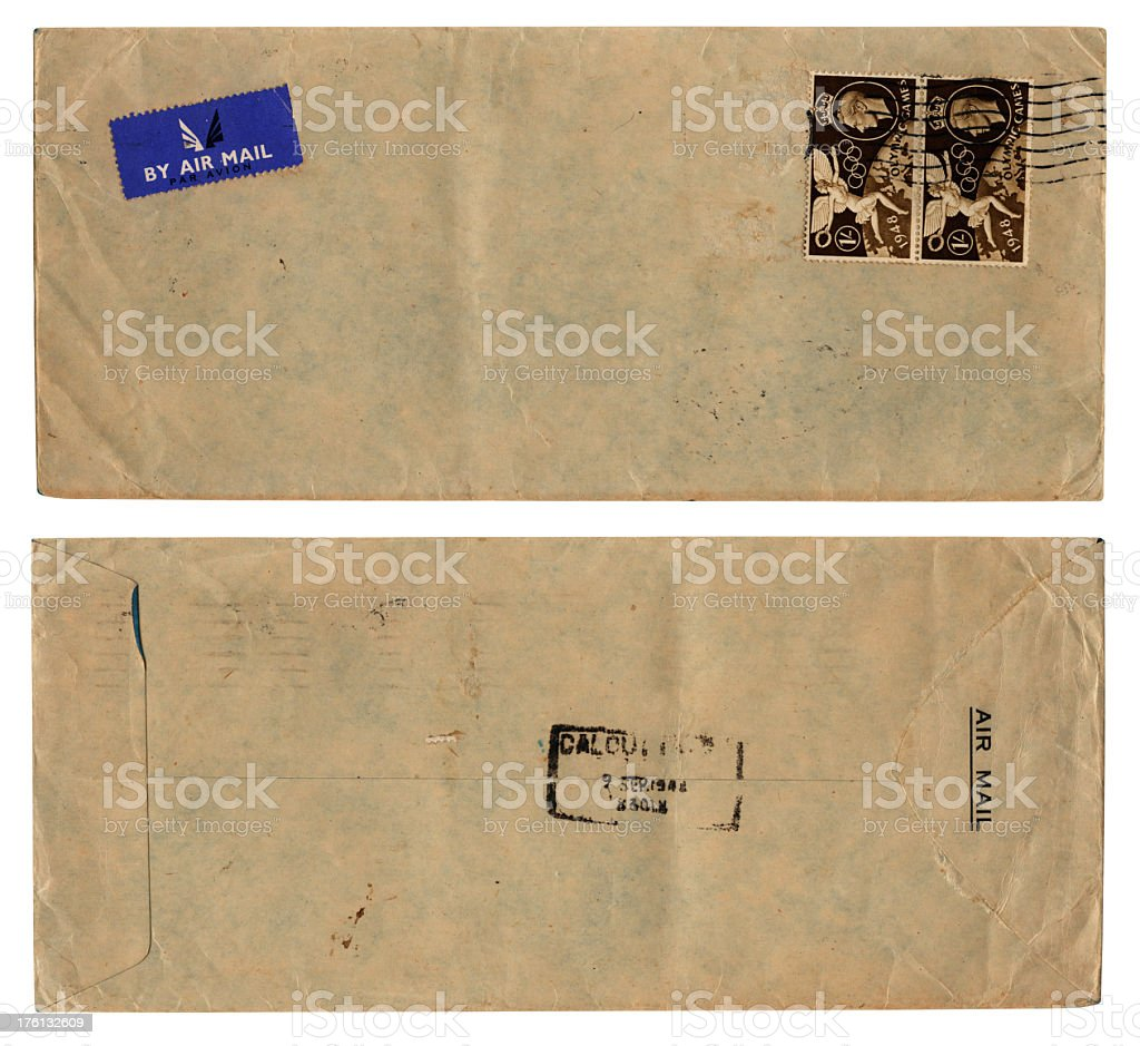 Airmail envelope to Calcutta, with 1948 Olympic Games stamps royalty-free stock photo