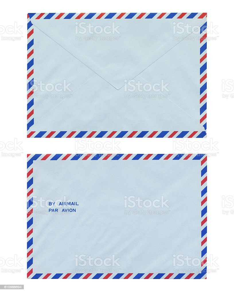Airmail over white background with clipping path stock photo