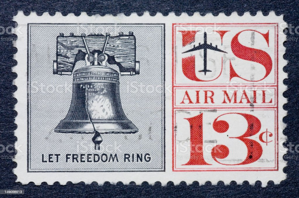 US airmail stamp with bell and sentence 'let freedom ring' stock photo