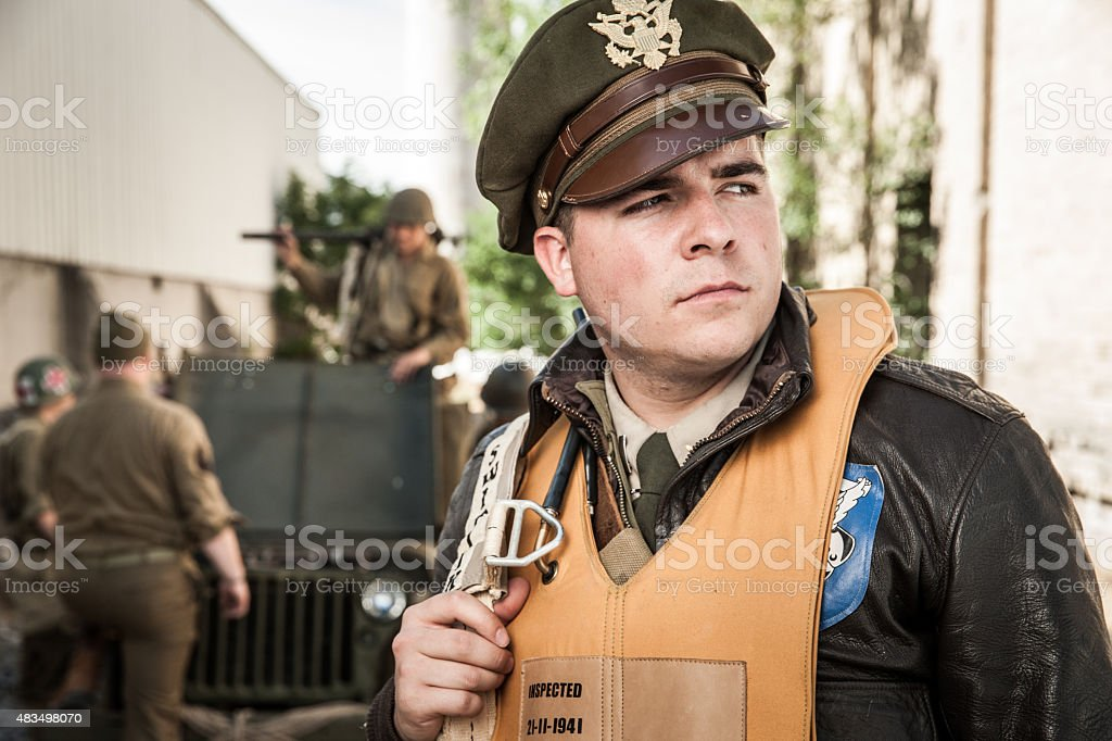 WWII Airman Officer Portrait stock photo