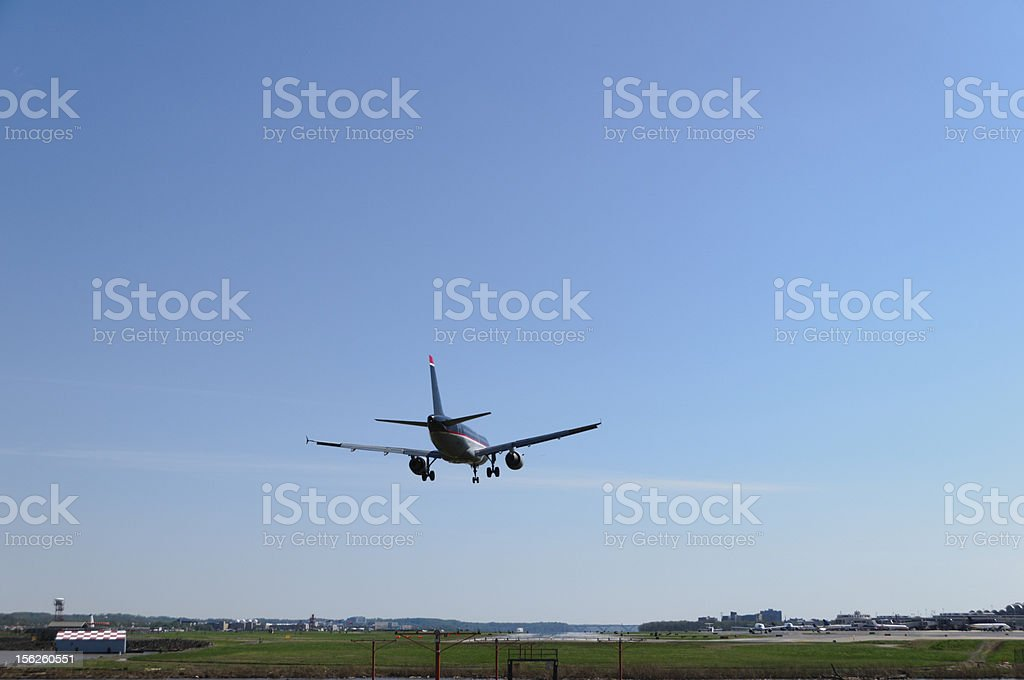 Airplane about to land royalty-free stock photo