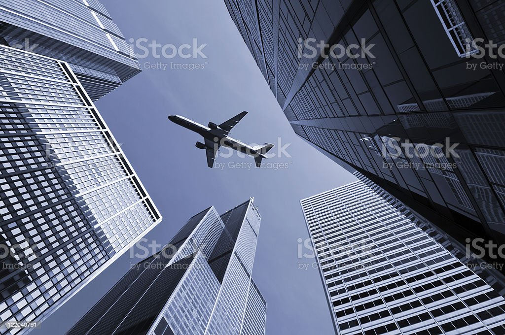 Airplane above city of Chicago. royalty-free stock photo