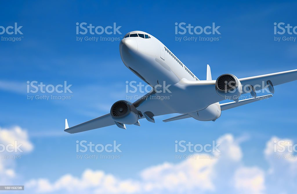 Airplane above clouds royalty-free stock photo