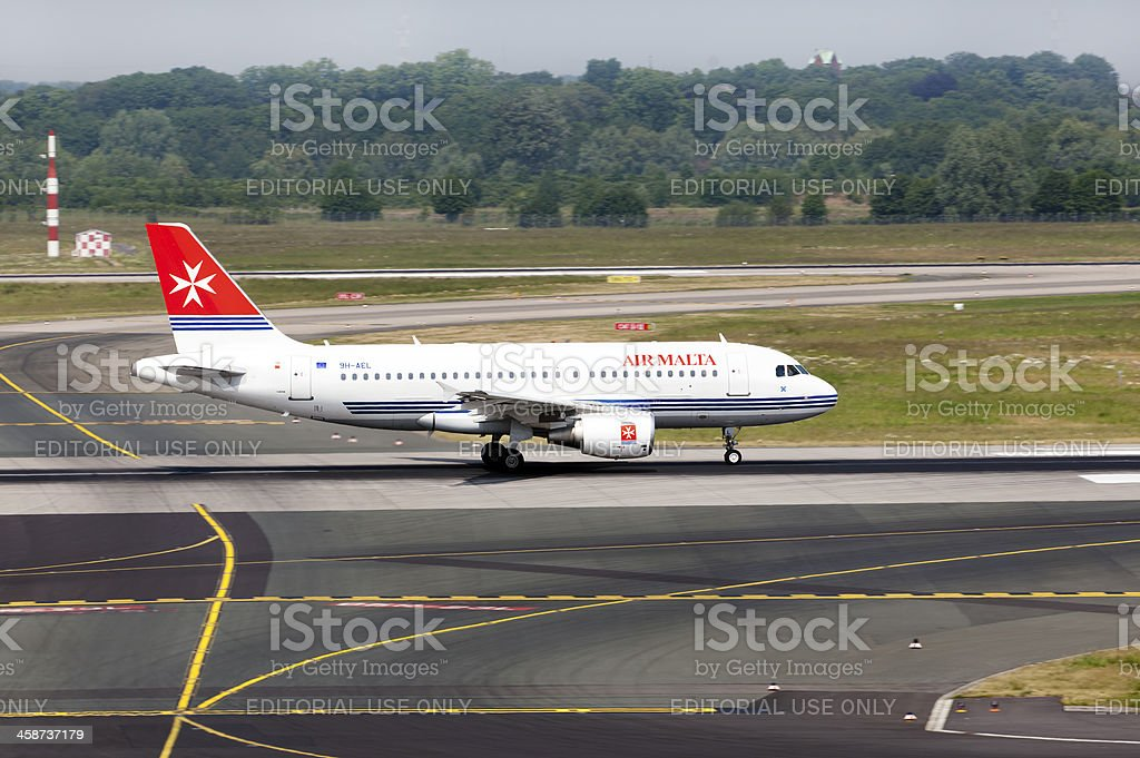 Airplane Airbus A319 of Air Malta stock photo