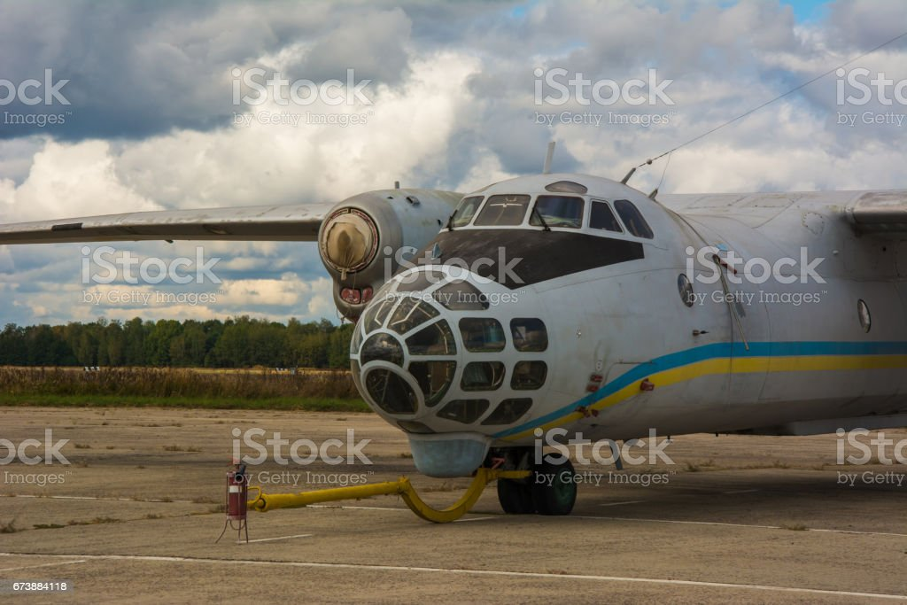 Airplane An-30 on airdrome stock photo