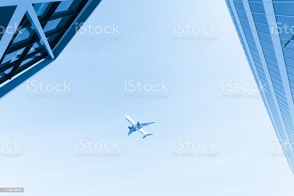 Airplane and building exterior of Frankfurt airport royalty-free stock photo