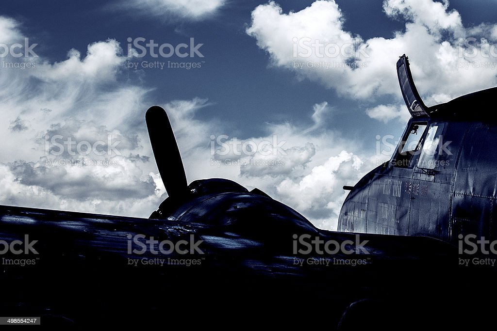 Airplane and Clouds royalty-free stock photo