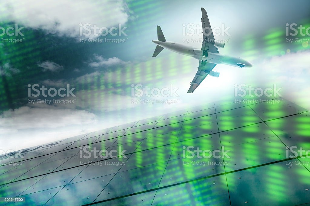Airplane and electronic transmissions stock photo
