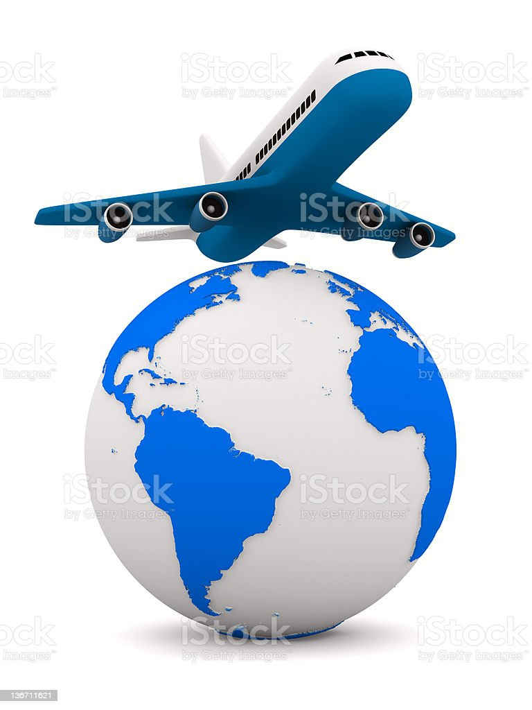 airplane and globe on white background. Isolated 3D image royalty-free stock photo