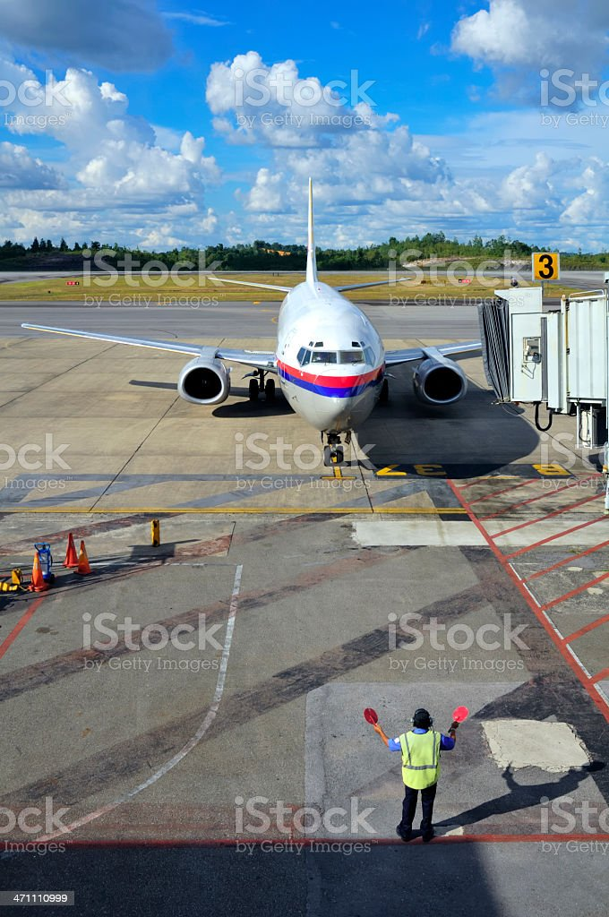 Airplane Arrival stock photo