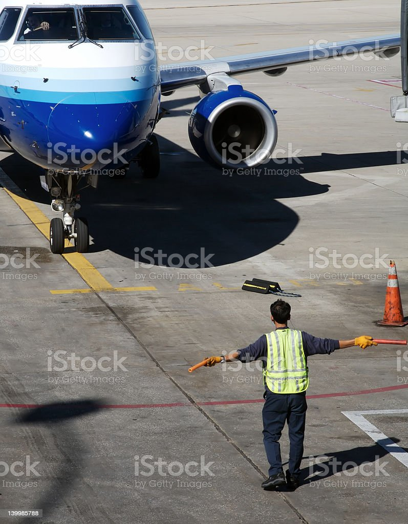 Airplane Arriving stock photo