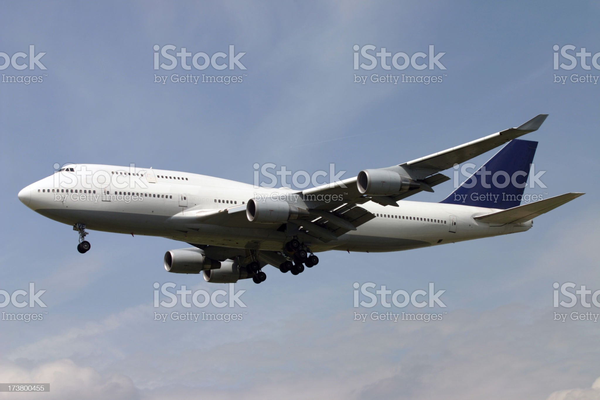 Airplane arriving royalty-free stock photo