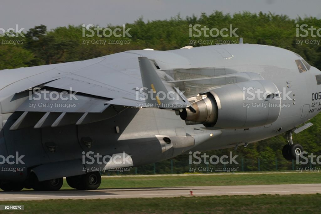 Airplane at takeoff stock photo