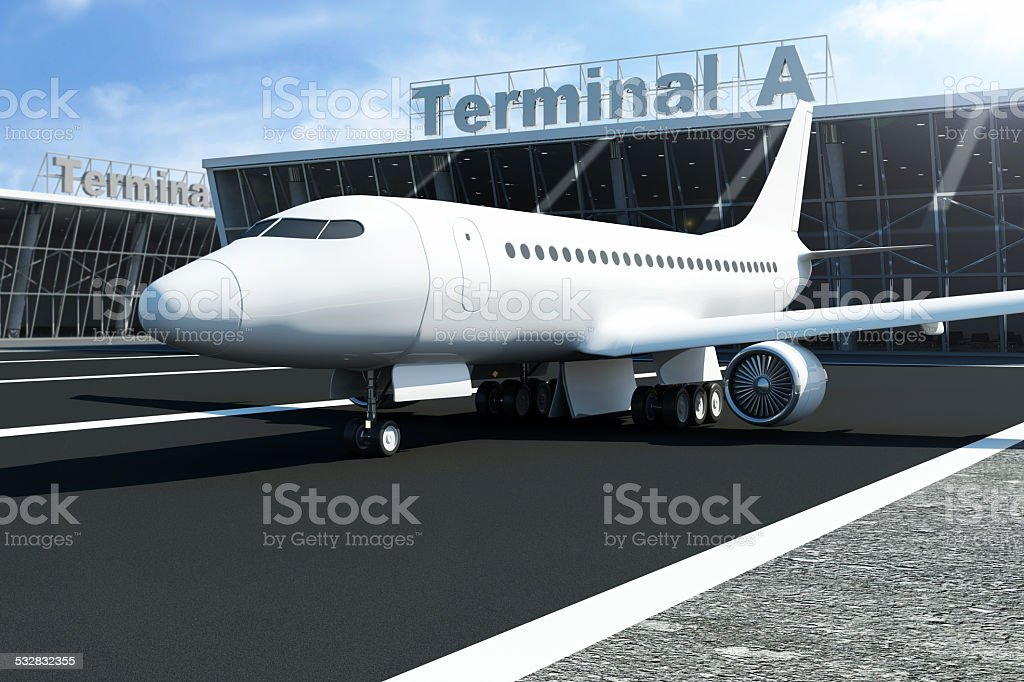 Airplane at the Airport Waits near the Terminal. stock photo